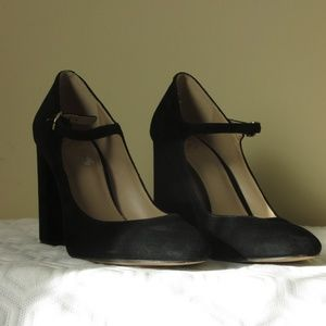 Vince Camuto closed toe black velvet heels.